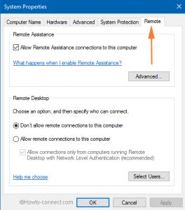 Remote tab on System on windows 10