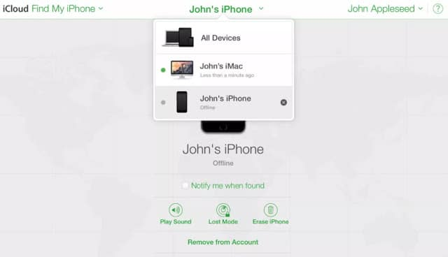 Find your Lost iPhone and delete personal data
