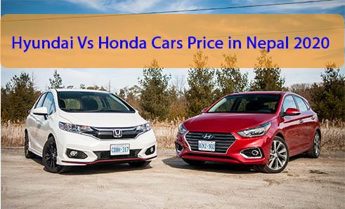 Hyundai Vs Honda Cars Price in Nepal 2020