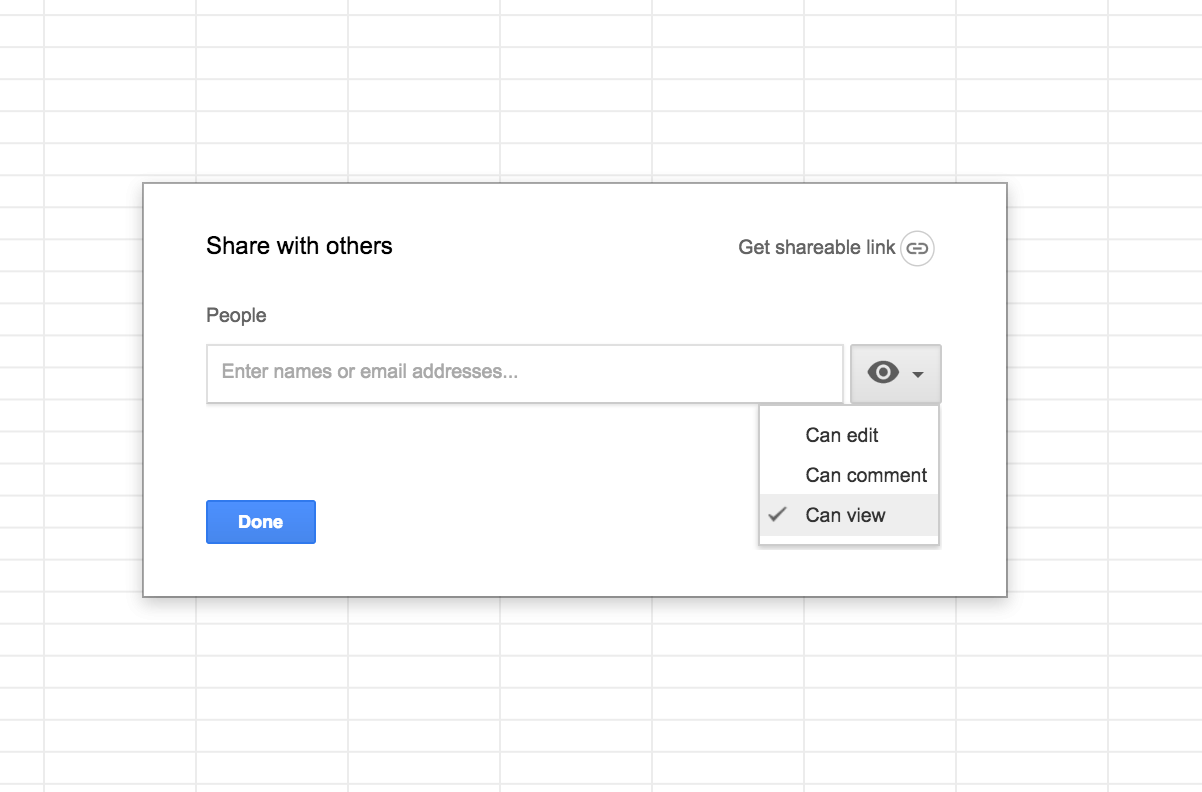 Share google sheet using email